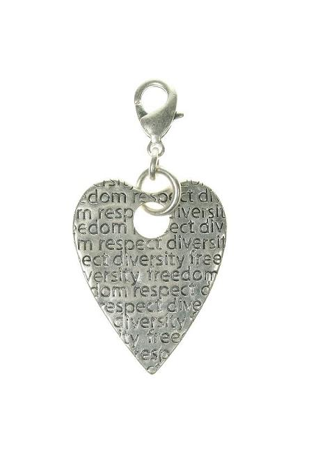 A & C Large Impressed Heart Charm
