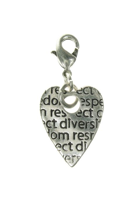 A & C Impressed Beaten 'Tweed' Heart Charm Silver Plate