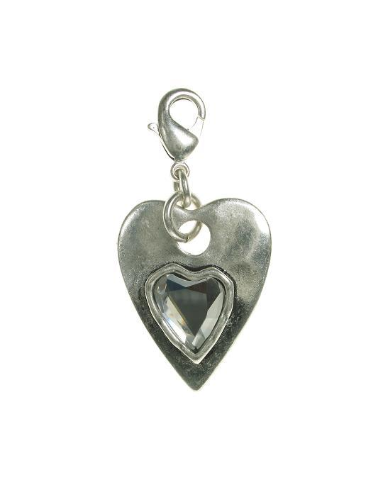 A & C Faceted Crystal Heart Within A Heart Charm Silver Plate