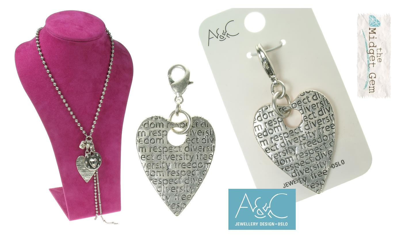 A & C - Large Impressed Heart Clasp-on Charm Silver Plate