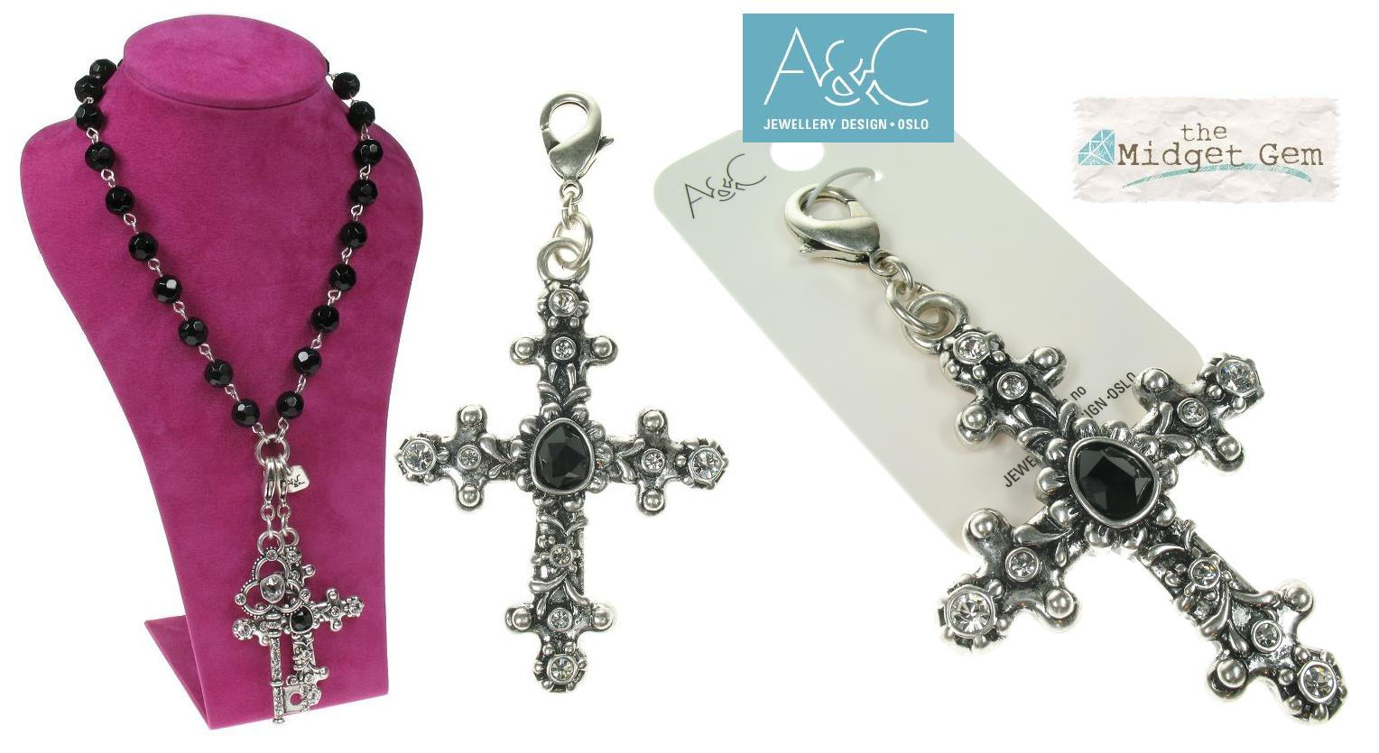 A & C - Large Ornate Swarovski Studded Gothic Cross Clasp-on Charm Silver Plate