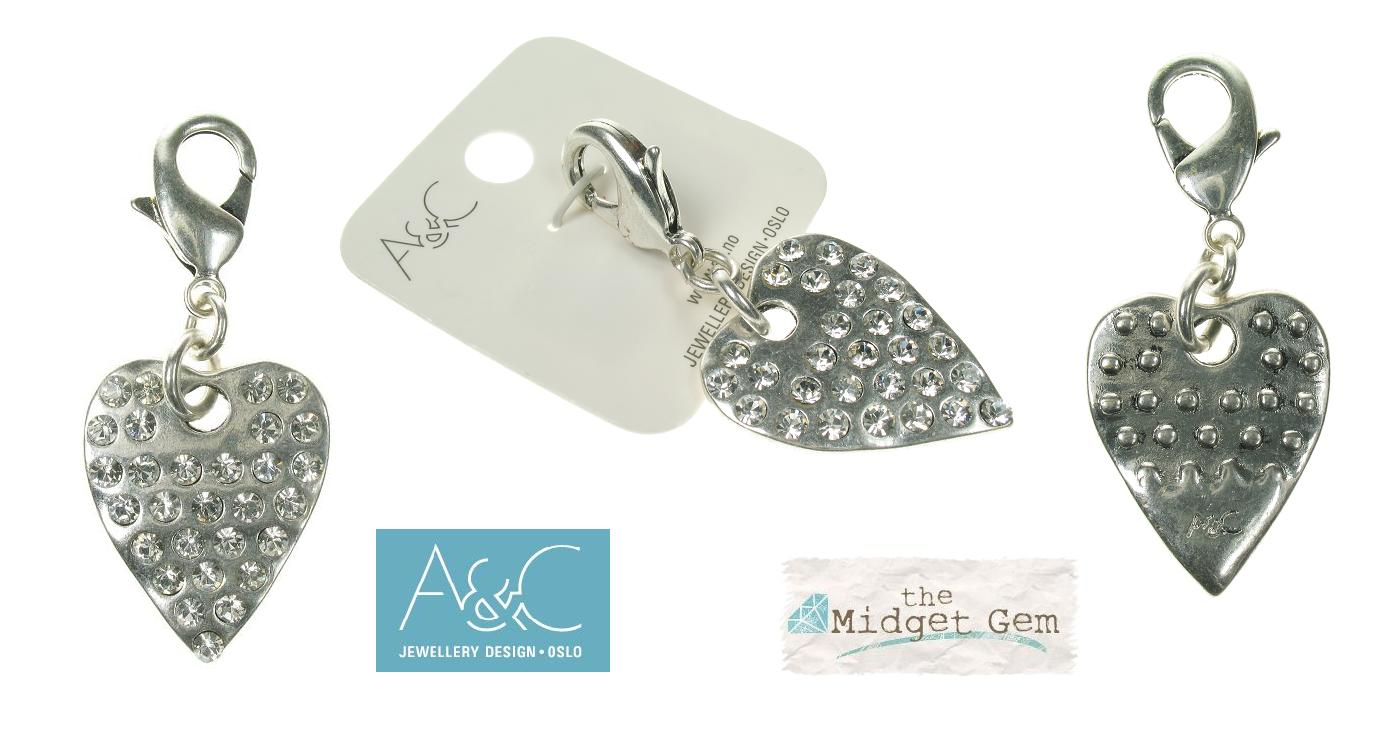 A & C - Large Crystal Studded Heart Clasp-on Charm Silver Plate