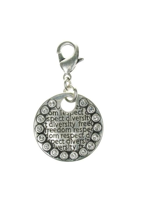 A & C Large Impressed Crystal Frame Disc Charm