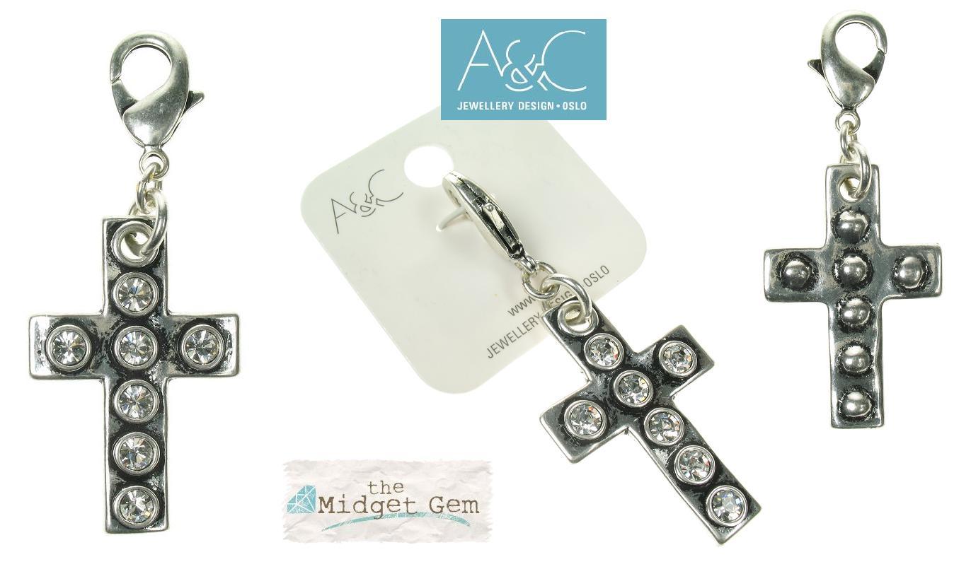 A & C - Large Swarovski Crystal Studded Cross Clasp-on Charm Silver Plate