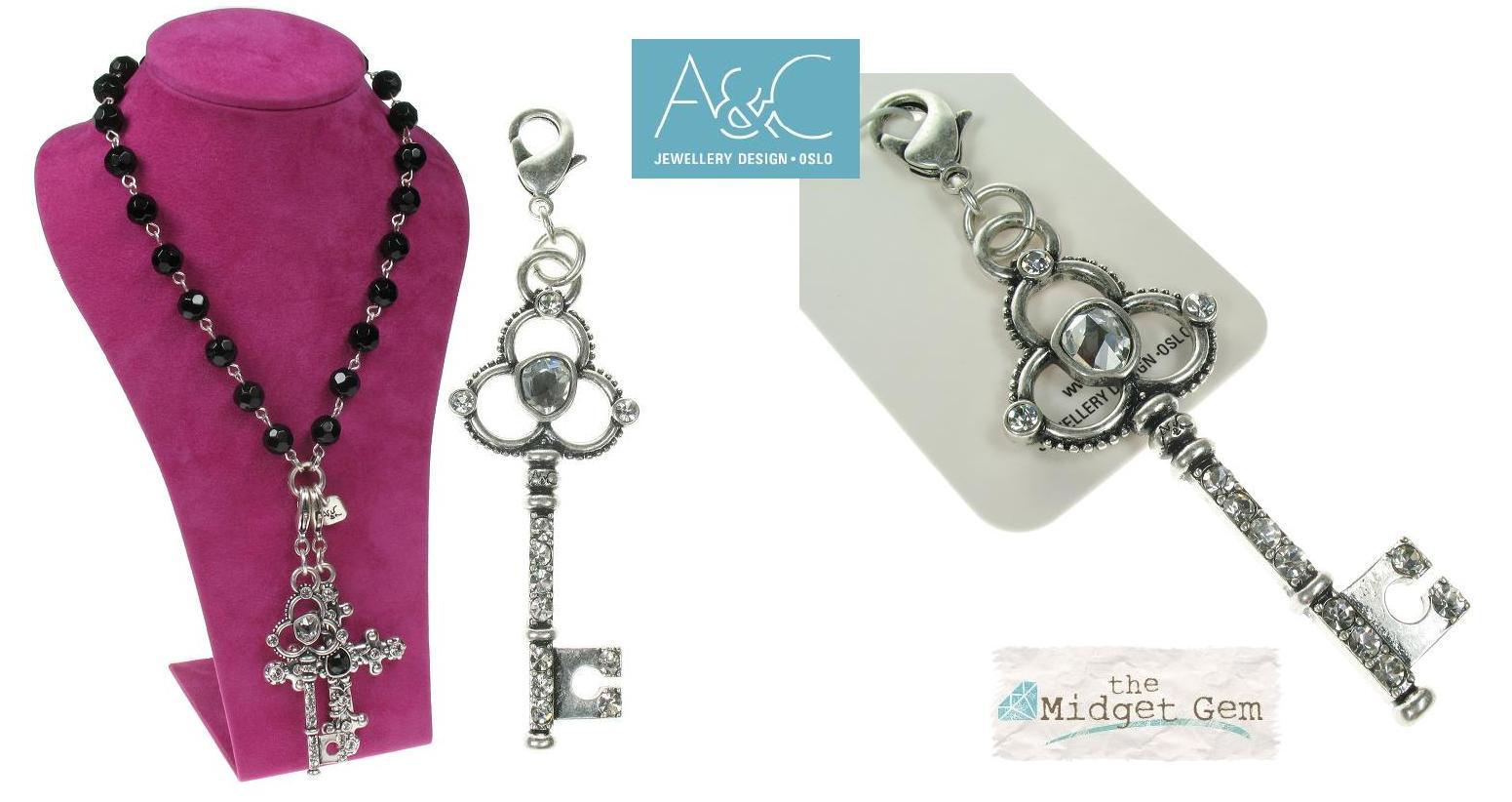 A & C - Large Ornate Crystal Studded Key Clasp-On Charm
