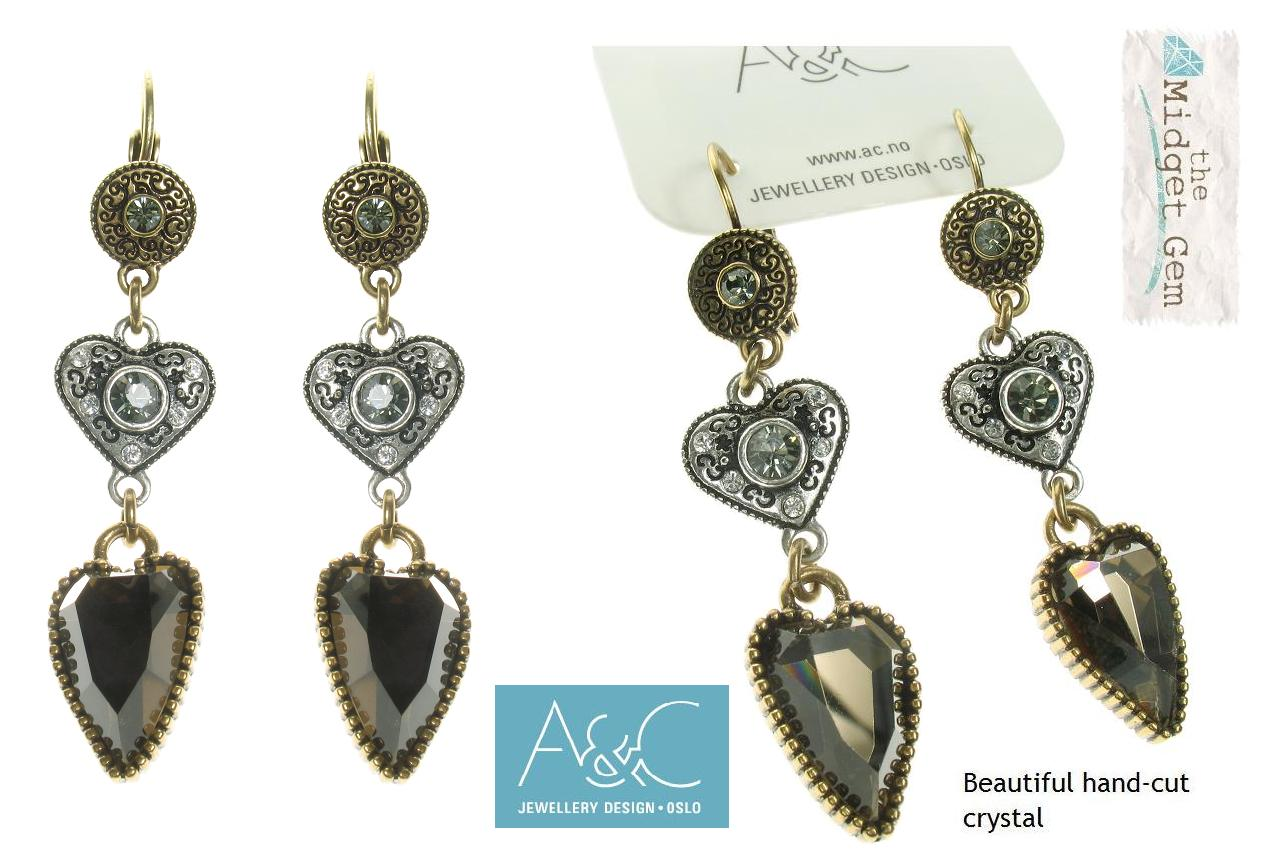 A & C Normandie Disc & Heart Earrings By A & C