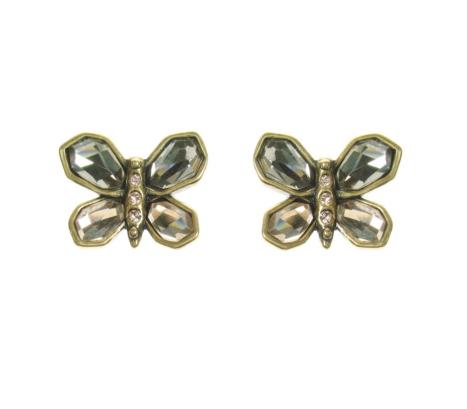A & C Sweet Butterfly Stud Earrings Gold Topaz
