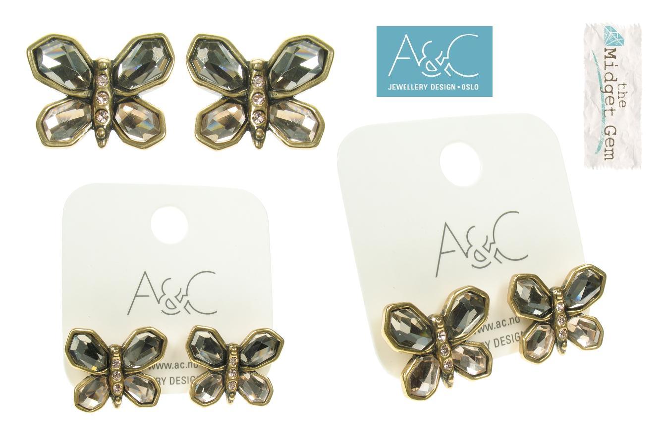 A & C Sweet Butterfly Stud Earrings Gold Topaz