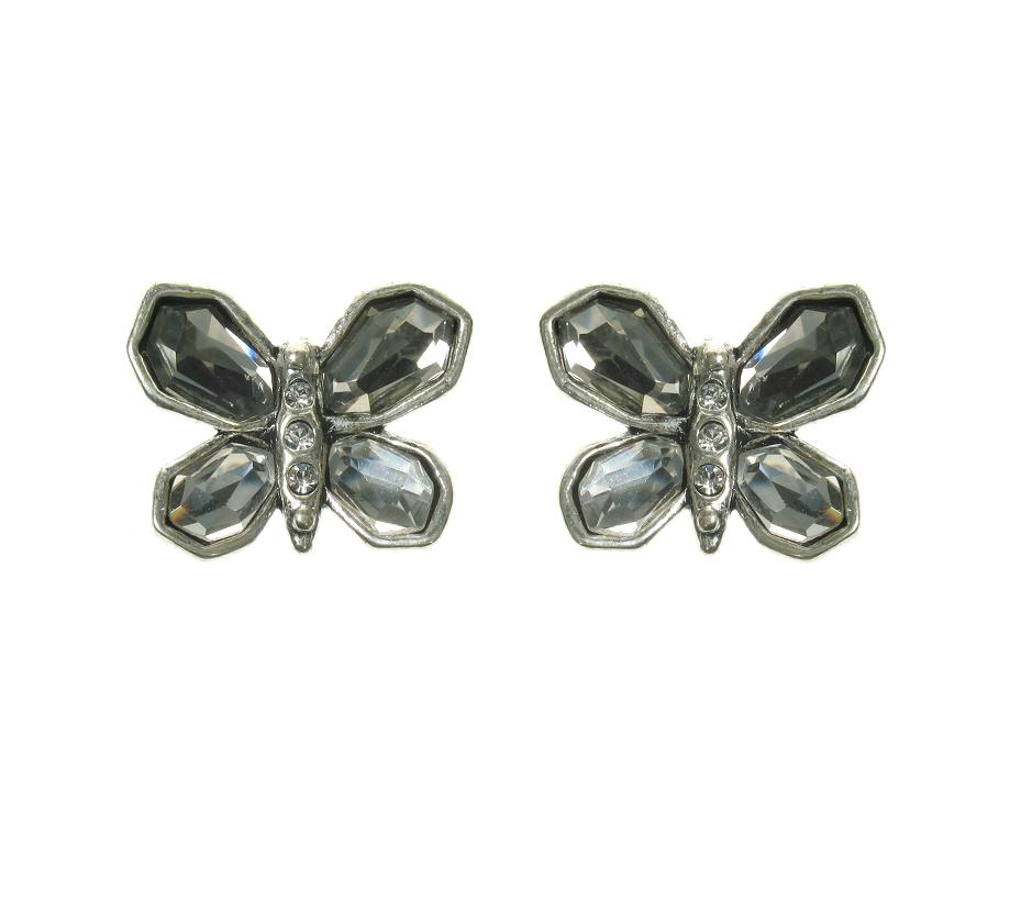 A & C Sweet Butterfly Stud Earrings Silver Grey