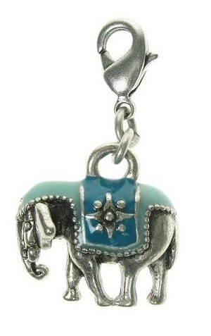 A & C - Beautiful Blue Indian Elephant Charm Silver Plate