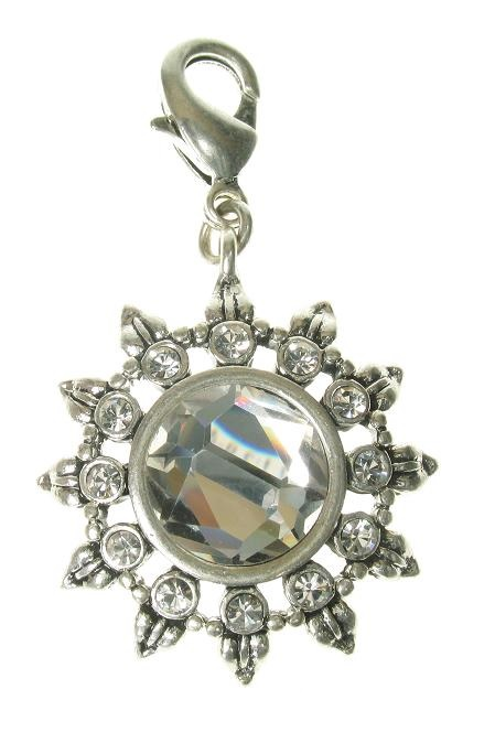 A & C - Beautiful Sun Flower Clasp-on Charm Silver Plate