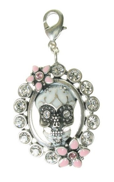 A & C - 'Day Of The Dead' Framed Skull & Flowers Crystal Clasp-on Charm