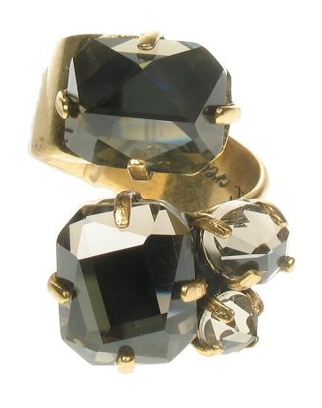 A & C - Faceted Hand-Cut Crystal Smoked Topaz Ring