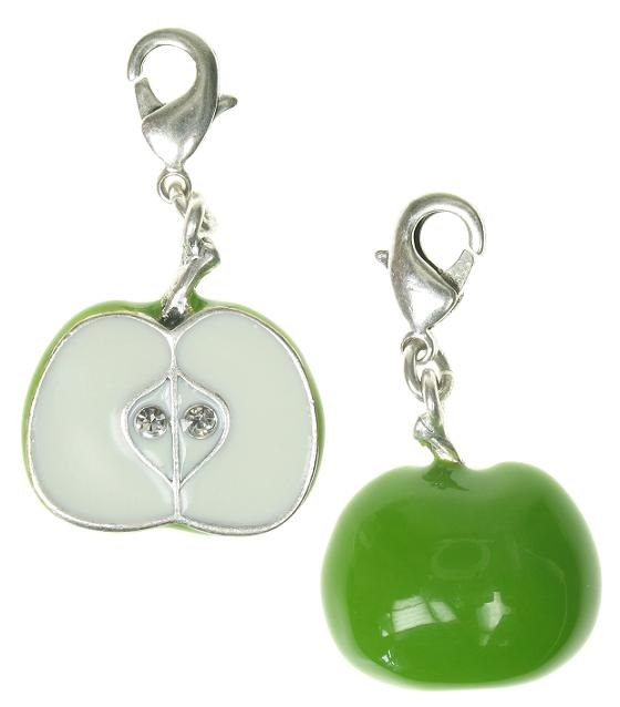A & C - Fruity Green Half An Apple Clasp-On Charm Silver Plate