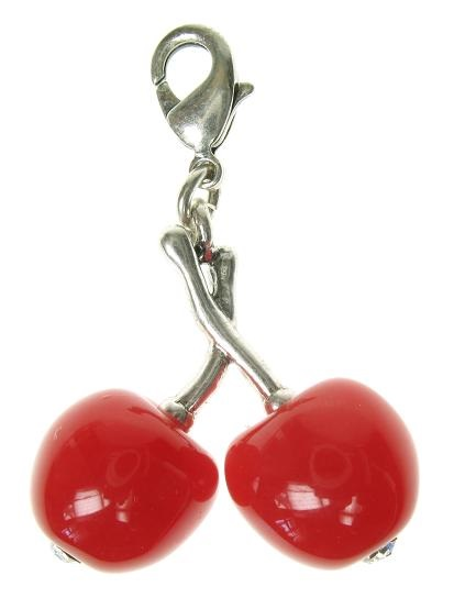 A & C - Fruity Pair Of Cherries Clasp-On Charm Silver Plate
