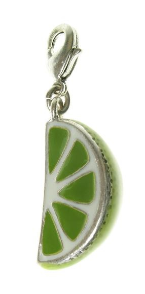 A & C - Fruity Slice Of Lime Clasp-On Charm Silver Plate