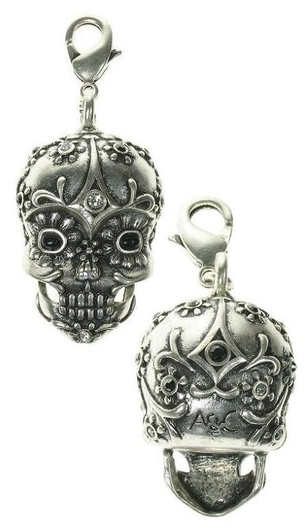 A & C - Large 'Day Of The Dead' Skull Clasp-On Charm Silver Plate