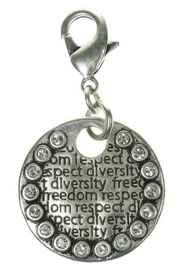 A & C - Large Impressed Crystal Framed Disc Clasp-on Charm Silver Plate
