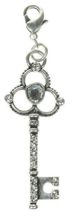 A & C - Large Ornate Crystal Studded Key Clasp-On Charm