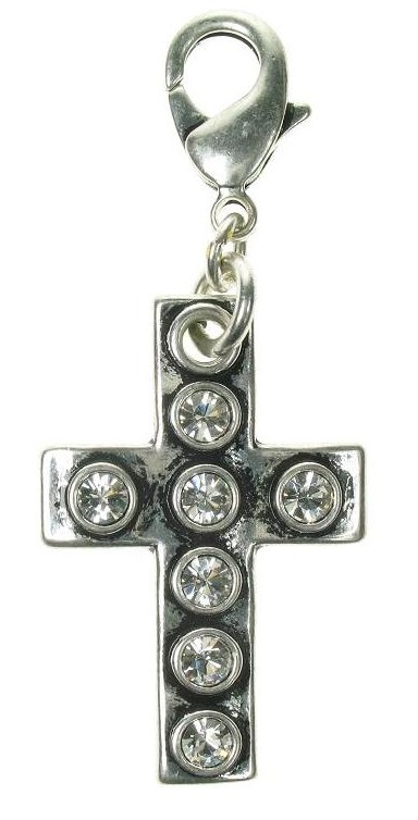 A & C - Large Swarovski Crystal Studded Cross Clasp-on Charm Silver Plate