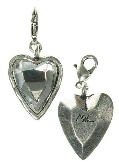 A & C - Larger Hand-Cut Clear Crystal Faceted Heart Clasp-On Charm Silver Plate