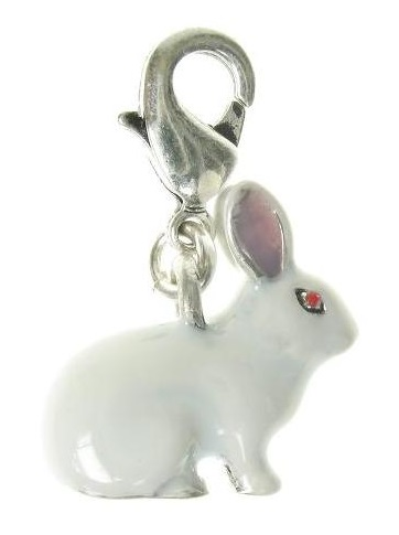 A & C - Larger White Rabbit Clasp-on Charm (Oxidised Silver Plate)