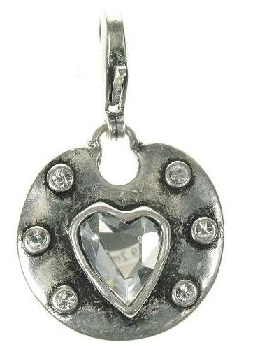 A & C - Medium Crystal Heart & Frame Disc Clasp-on Charm Silver Plate