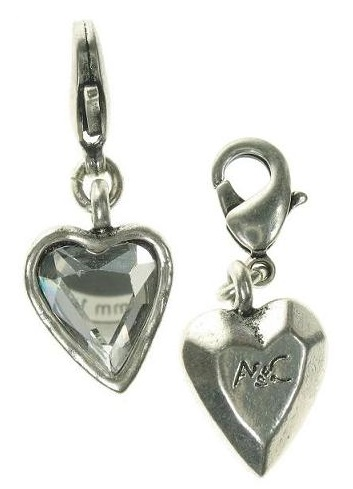 A & C - Small Hand-Cut Faceted Crystal Heart Clasp-On Charm Silver Plate