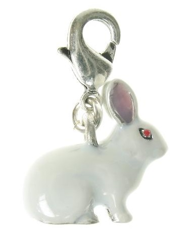 A & C - Small White Bunny 'Rabbit' Clasp-On Charm (Oxidised Silver Plate)