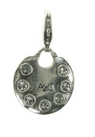 A & C - Clear Swarovski Studded Disc Clasp-On Charm Silver Plate