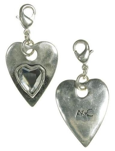 A & C - Faceted Crystal Heart Within A Heart Clasp-On Charm Silver Plate