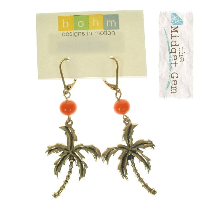 BOHM - Aloha - Tropical Palm Tree Charm Earrings - Burnished Gold Plate