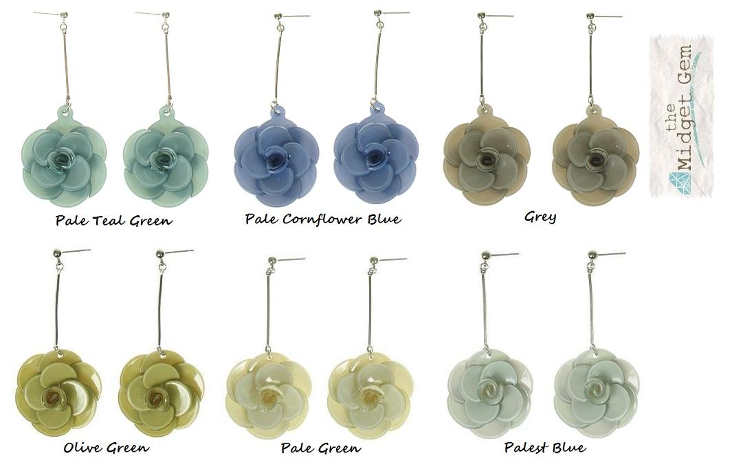 Big Baby Rose Flower Earrings - Colour Set 1