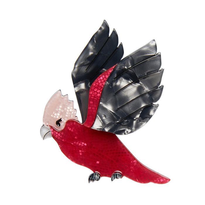 Girlberta the Galah - Erstwilder Pink & Grey Bird Brooch