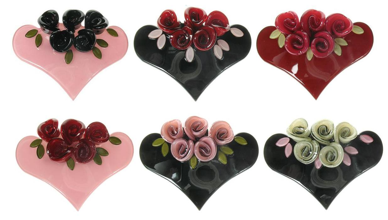BIG BABY Heart & Rose Posey Hair Clip/Slide