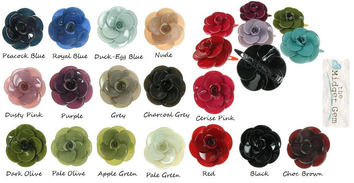 BIG BABY Small Rose Flower Hair Slide/Clip - Colour Set 1