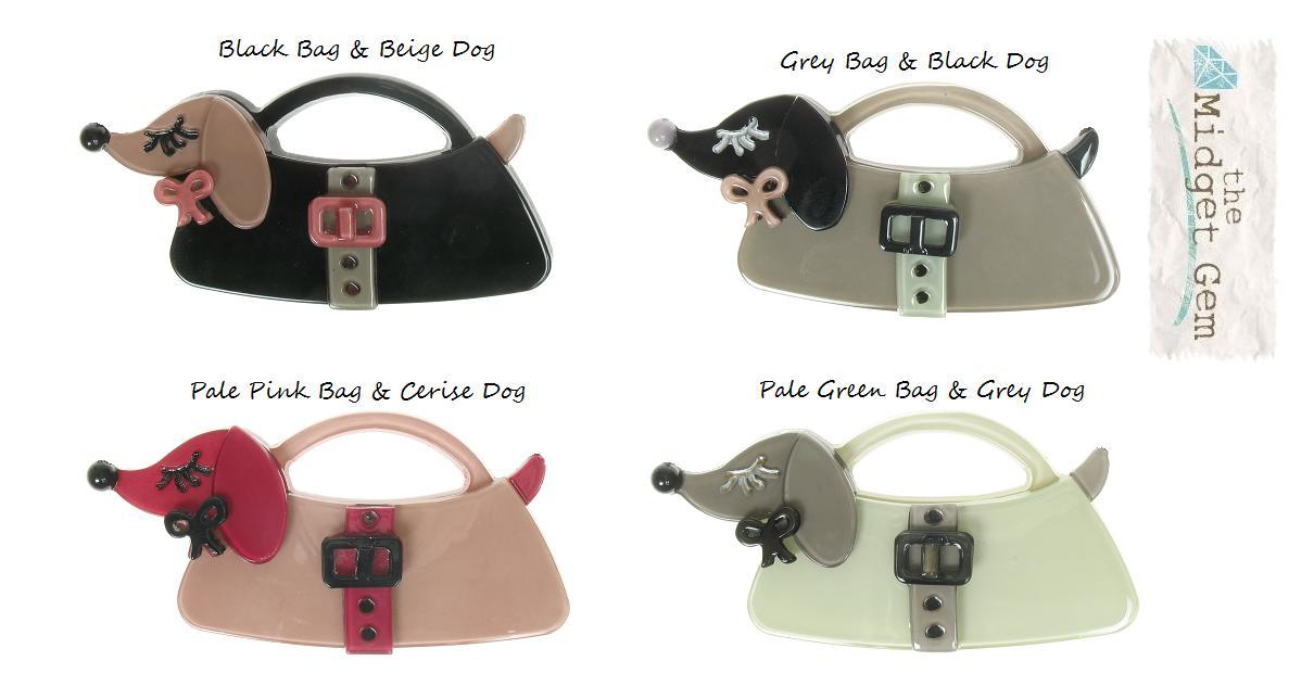 BIG BABY Sausage Dachshund Dog Handbag Brooch/Pin