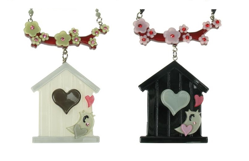 BIG BABY Bird House & Blossom Necklace