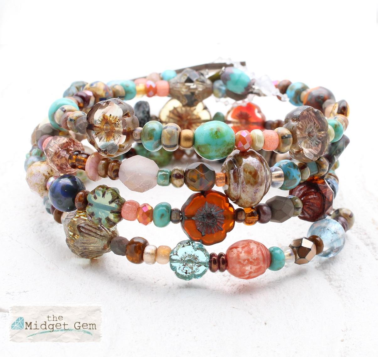 Burnt Orange, Brown & Blue Glass Bead Mix - 4 Loop Wrap Bracelet