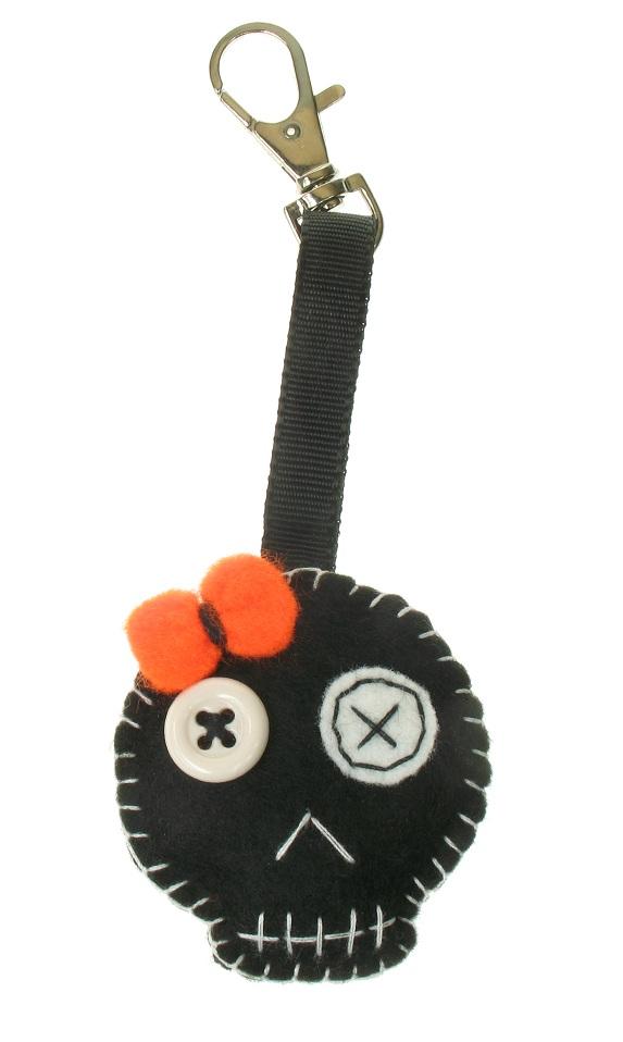 BOBBLELICIOUS Skull Hand Bag Charm - Black Felt