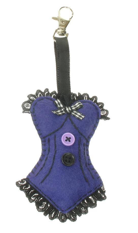 BOBBLELICIOUS Burlesque Bustier/Corset Hand Bag Charm - Purple Felt