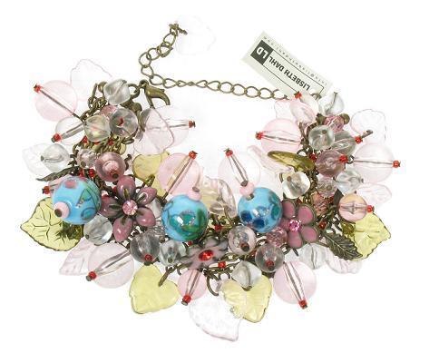 Lisbeth Dahl Leaf & Flower Charm Bracelet - Vintage Gold/Pinks/Turquoise