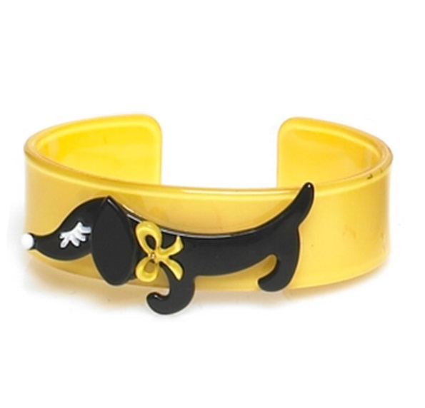 Sausage Dachshund Dog Cuff  - Yellow/Black - BIG BABY