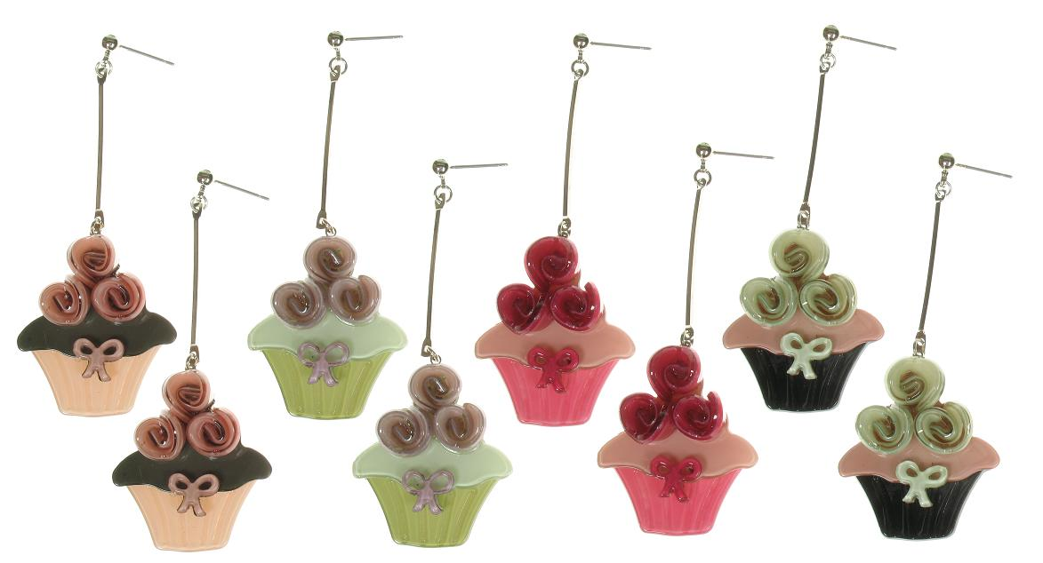Big Baby Rose Topped Cup Cake Earrings