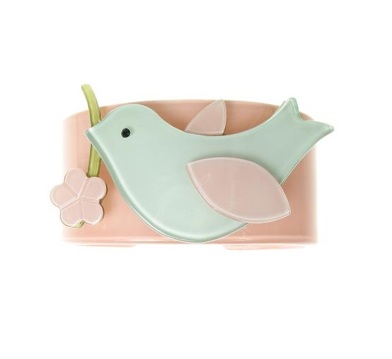 Bird & Flower Dusty Pink & Blue Wide Cuff - BIG BABY Bangle