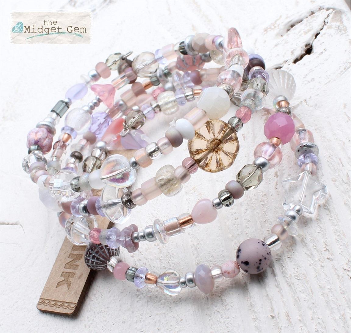Clear, Frost, Pink & Purple Glass Bead Mix - 4 Loop Wrap Bracelet