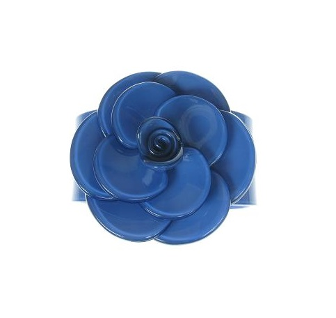Wide Rose Cornflower Blue Cuff - BIG BABY Bangle
