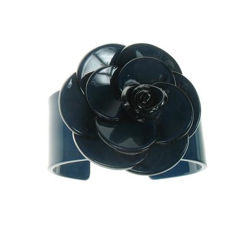 Wide Rose Ink Blue Cuff - BIG BABY Bangle