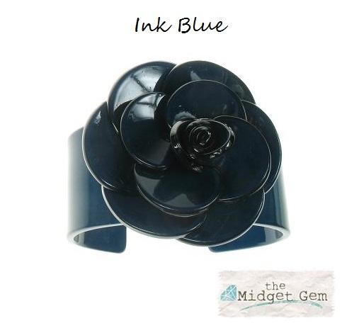 Wide Rose Ink Blue Cuff - BIG BABY Bangle