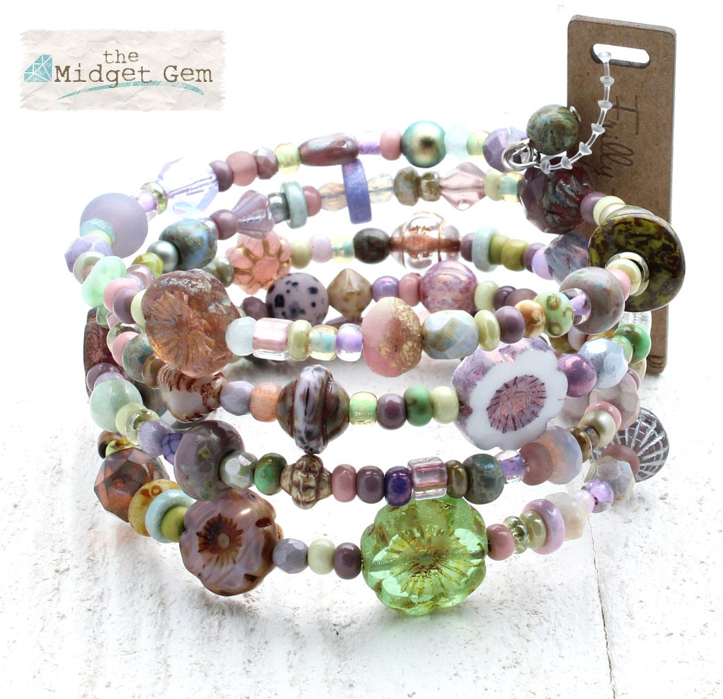 Purple, Pink & Green Dolly Mixtures Glass Bead Mix - 4 Loop Wrap Bracelet